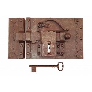 FS195 / Zabytkowy zamek do drzwi z kluczem